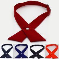 yay bağları toptan satış-Moda Unisex Çapraz Ilmek Kravat Yaratıcı Kadın Kişilik Okul Yay Düğmesi Kravat Klasik Resmi Düz Renk Parti Accessiries TTA1064