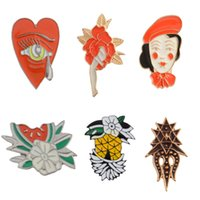 Wholesale enamel flowers for brooch for sale - Pineapple Watermelon Red Hat Girl Brooch Flower Eye Alloy Badges for Backpack Hard Enamel Pin Collection Jewelry Bag Jean Denim Accessory