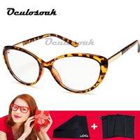 lila brillen großhandel-Frauen Katzenaugen Stilvolle Brillen Brillen Myopie Spektakel Kleines Gesicht Lila Rahmen mit Farbverlauf Klare Linsen Weinrot 2019 Neu