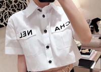 yaka gömlek baskı toptan satış-Kadın Moda Kısın Yaka Cep Gömlek Bluz Gömlek Sevimli Mektup Baskı Gevşek Rahat Blosues Bayanlar Blusa Tops