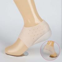 вкладыши с пяткой на высоту оптовых-Unisex Невидимые носки для увеличения высоты Сапоги на каблуках Силиконовые стельки для массажа ног Однотонные стельки для обуви Для женщин Вставки
