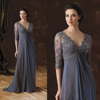 Wholesale dress flower brooch resale online - 2019 Style Chic Mother Of The Bride Dresses Half Sleeves A Line V Neck Empire Waist Mother Of Groom Dress Floor Length Chiffon Evening Gowns