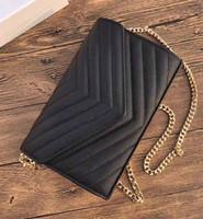 bolsa de caviar acolchada al por mayor-Bolso de hombro de cadena caliente de la manera bolsos del diseñador de lujo monedero V bolso de la aleta del caviar de alta calidad de cuero genuino bolso acolchado de mano bolsa de embrague