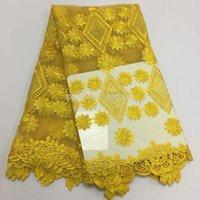 tela yd al por mayor-2019 superventas cordón pesado cordón africano guipur tela francesa del cordón con piedras tela africana del cordón de alta calidad para la boda YD
