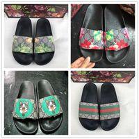 zapatillas sandalias mujer al por mayor-con la caja Diseñador Goma sandalia de deslizamiento Brocado floral Hombres zapatillas Pantalón de chanclas Chanclas mujer rayas Playa causal zapatilla US5-11