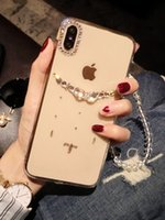 iphone raindrops оптовых-Чехол для iPhone X, капли Rhinestone со стразами Apple x Mobile Shell iphone7 / 8 plus Diamond xs max Прозрачный чехол Drop 6s xr