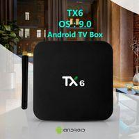 4.4 android 4k tv box بالجملة-TX6 الروبوت 9.0 TV مربع مع H6 رقاقة 4GB 32GB / 64GB الذكية التلفزيون صندوق دعم 2.4G5G واي فاي BT5.0 TX3 البسيطة