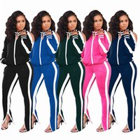 Wholesale champagne full suits resale online - Women striped tracksuit casual two piece set fashion outfits long sleeve jacket leggings designer fall winter clothing jogger suit