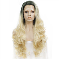 Wholesale wavy synthetic full lace wig resale online - Fashion Long Wavy Synthetic Lace Front Wig Dark Roots Blonde Ombre Wig Two Tone Full Density Wigs For Women Heat Resistant Fiber Hair