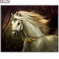 ingrosso diamante diy handwork-5D Pittura Diamante Diy Bella White Horse Diamond Resinstone Diamante quadrato Picture Set Lavoro manuale Cucito Mosaico di cristallo