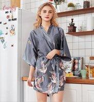 batas yukata al por mayor-Vestido de la ropa de noche de las mujeres de moda de verano mini traje del kimono Señora Rayón baño Yukata camisón Sleepshirts Pijama Mujer cuello en V Tamaño Xxl
