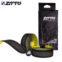 bicicletas de estrada de qualidade venda por atacado-ZTTO Road Bike Bar Tape Alta Qualidade Vibração Amortecimento Anti-Vibração EVA PU Bar Guiador Fita Envoltório + 2 Bar Plug