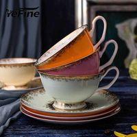 Wholesale high tea china resale online - YeFine Bone Porcelain Tea Cups Set High Grade Ceramic Cups And Saucers For Coffee ML Drinkware Set T191024