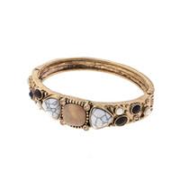 pulseira de madeira venda por atacado-2019 Moda Galvanoplastia antigo dourado Frisado Pulseira Charme Pulseiras Pulseiras Para As Mulheres De Pedra Natural De Madeira