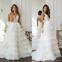 Wholesale fall wedding cakes for sale - Group buy Gorgeous Hobeika Cake Wedding Dresses V Neck Lace Appliques Tiered Wedding Hollow Back Sweep Train Bohemian Wedding Dress Bridal Gowns