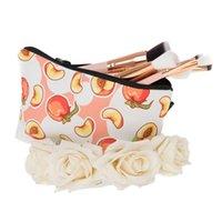 bolsas de durazno al por mayor-Peach Impreso viajar a casa de artículos de tocador Organizador de la bolsa de las mujeres bolsa cosmética