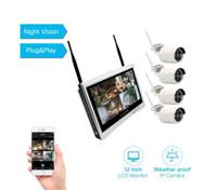 cctv plug play al por mayor-12 '' LCD Monitor inalámbrico NVR CCTV Sistema de cámara de seguridad 4CH 960P H.265 WiFi 4 canales Juego de vigilancia Plug and play