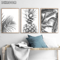 Wholesale tropical art prints resale online - Nordic Minimalism Tropical Prints Palm Tree Leaves Wall Art Pineapple Poster Black White Canvas Painting Picture for Living Room