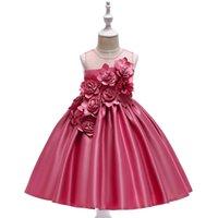 ingrosso vestiti della principessa della ragazza-Le ragazze eleganti di Rose Fower si vestono per bambini Principessa di compleanno Applique Prom Designs Abito di sfera Abiti per bambini di moda per abiti da ragazza