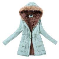 plus größe frauen oberbekleidung großhandel-Weibliche Jacke Mäntel Plus Size chaqueta Mujer Winterjacke Frauen Parkas Pelz-warme 2019 Kragen-dünne Reißverschluss Oberbekleidung