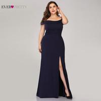 Wholesale dresses for mothers bride resale online - Plus Size Navy Blue Mother Of The Bride Dresses Mermaid High Split Long Women Dresses For Wedding Party Robe Mere De La