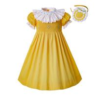 ropa de pascua para niñas al por mayor-Pettigirl Partido alforzada amarillo Vestidos para niños pequeños adolescente alforzada gran burbuja Pascua niños niñas ropa G-DMGD201-B489