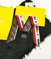 frauenbeutelhandgriff großhandel-Luxus Frauen Mode Designer Band Seidenschal schöne Mischung Design Mädchen Halstuch Haarband Tasche Griff wickelt kleine Halstücher