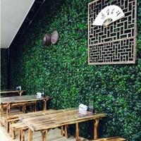 ingrosso tappetino artificiale per giardino-Simulazione di tappeto di tappeto erboso artificiale Tappeto di erba di legno di bosso 25 cm * 25 cm Prato verde per la decorazione del giardino di casa