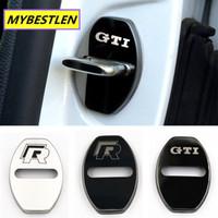 fibra coche dorado al por mayor-Para adaptarse a 7 MK6 MK5 Jetta POLO Tiguan tapa de la cerradura de acero inoxidable Accesorios engomada del coche-Styling Puerta