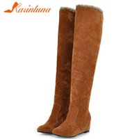 Wholesale big boots females resale online - Karin Dropship Big Size Warm Plush Russia Winter Snow Boots Female Shoes Women Over The Knee Boots Woman Shoes