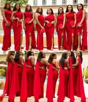Wholesale sexy wedding dresses images online - Red Mermaid Bridesmaid Dresses One Shoulder Sexy Side Split Wedding Guest Gowns Back Zipper Custom Made African Maid Of Honor Dress
