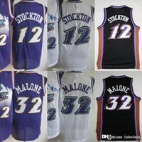 Wholesale men basketball uniforms resale online - Uta Basketball John Stockton Tobes Men Purple White Color Karl Malone Tobe Vintage Uniforms All Stitched High Quality