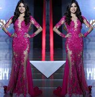 miss rose robes achat en gros de-Miss Monde Pageant Sexy Voir Voir Chaud Rose Dentelle Tull Robes De Bal Illusion Manches Longues Sirène Formelle Robe De Soirée Arabe 2019