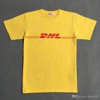 мужская футболка dhl оптовых-Желтый DHL печати майка Мужчины Женщины Hip Hop Уличная Lovers с коротким рукавом Повседневная рубашка New Kanye West Summer тройники YJG1205