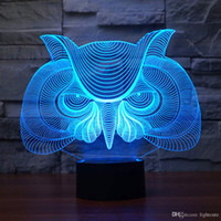 Wholesale nursery room lamps for sale - Group buy Owl D Illusion Desk Lamp Night Light for Kids Nursery Bed Living Room Decor Color Change Toys Birthday Christmas Party Gifts Bo