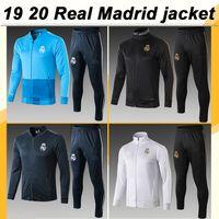 conjunto completo de camisolas de futebol venda por atacado-19 20 Real Madrid completa zip paletó de Futebol PERIGO SERGIIO RAMOS Kroos Mens Jacket Set camisas do futebol BENZEMA MARCELO ISCO Pant