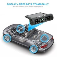 Wholesale wireless car alarm systems for sale - Group buy Freeshipping Solar Power Car TPMS Wireless Tire Pressure Monitor Alarm System LCD Display