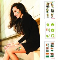tatuajes de las mujeres al por mayor-Tatuaje de dibujos animados a prueba de agua Día de San Patricio Etiqueta engomada del tatuaje Trébol Etiqueta de la cara Tatuajes de navidad Cuerpo Dedo Art Tatoo Hombre Mujer MMA1481