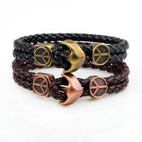ingrosso braccialetto unisex di pace-Braccialetti da uomo Colore oro Bracciali di ancoraggio in acciaio inossidabile Bracciale in pelle da uomo con cinturino in pelle nera