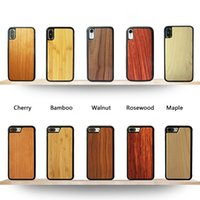 cámara de bambú al por mayor-2.5D híbrido contraportadas de madera natural de bambú casos de cuerpo completo antideslizante protectora TPU Snap-on Parachoques con lente de la cámara de corte para el iPhone Samsung