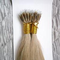 Wholesale micro links brazilian hair extensions resale online - 100 Pieces Brazilian Virgin100g Remy Micro Beads Hair Extensions In Nano Ring Links Human Hair Straight Colors Blonde European Hair