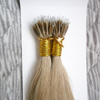 nanohaar 26 großhandel-100 Stück brasilianische Virgin100g Remy Mikrokorn-Haar-Verlängerungen in Nano Ring Verbindungen Menschliches Haar Gerade 9 Farben Blond europäischen Haar