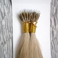 micro enlaces extensiones de cabello brasileñas al por mayor-100 unidades Virgin100g Remy granos micro de las extensiones de cabello de Brasil en Nano Anillo Enlaces pelo humano recto 9 Colores Pelo rubio Europeo