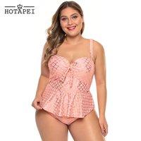 roupa de banho rosa tankini mulheres venda por atacado-Hotapei Rosa Plus Size Swimwear Mulheres Halter Pescoço Peplum Tankini Set Cintura Alta Babados Maiô Empurrar Para Cima Maiô LC411303
