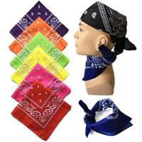 печатные браслеты оптовых-Унисекс хип-хоп черный бандана мода головные уборы волос группа шеи шарф запястье обертывания квадратные шарфы печати платок высокое качество