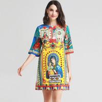 бисерные платья для женщин оптовых-2019 женщин взлетно-посадочной полосы платье O шеи с короткими рукавами из бисера старинные печатные элегантные повседневные летние платья
