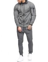 Wholesale long black arm sleeve resale online - Designer High Quality Mens Tracksuit Men s Sports Suit Arm Zipper Decoration Fitness Long Pants Clothing Sets