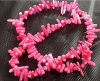 natürliche korallen perlen locker großhandel-KOSTENLOSER VERSAND ++ Natural rose red Coral Chip Lose Perlen 15