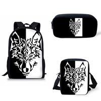 erkekler için kafatası sırt çantaları toptan satış-Sırt çantası Okul Çantaları Erkek Kız Siyah Beyaz karanlık Kurt Maskesi dişli için Kafatasları Okul, Gençler Baskı Bagpack Satchel