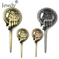 Wholesale game thrones brooches resale online - Game of Thrones Song of Ice and Fire Brooch Hand of the King Lapel Inspired Authentic Prop Pin Badge Brooches Movie Jewelry